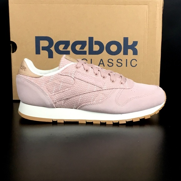 f232fbe61a3755 Reebok Shell Pnk Chalk Lilac Ash CL Leather EBK